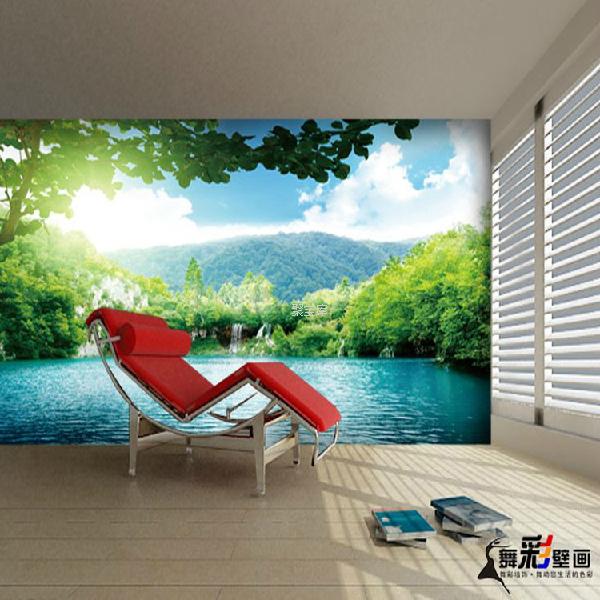 大型山水自然风景壁画田园风格清新电视背景墙客厅
